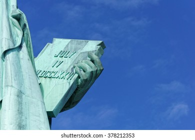 New York - January 30, 2016: Close up of the tablet of Statue of Liberty on January 30, 2016. Statue of Liberty is one of the most recognizable landmarks of New York City.