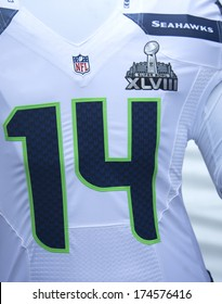 NEW YORK - JANUARY 30  Seattle Seahawks team uniform with Super Bowl XLVIII logo presented during Super Bowl XLVIII week in Manhattan on January 30, 2014