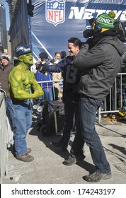 NEW YORK - JANUARY 30: Unidentified Seattle Seahawks fan during interview on Broadway during Super Bowl XLVIII week in Manhattan on January 30, 2014