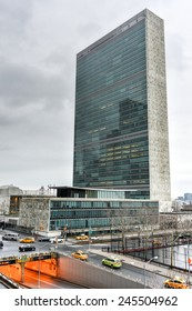 NEW YORK, NEW YORK - JANUARY 4, 2015: United Nations headquarters in New York against the traffic.