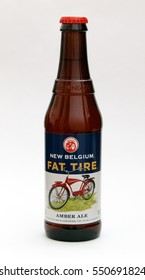 New York, January 5, 2017: A bottle of Fat Tire amber ale is seen against white background.