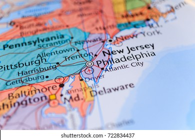 New York and New Jersey on the map in the atlas
