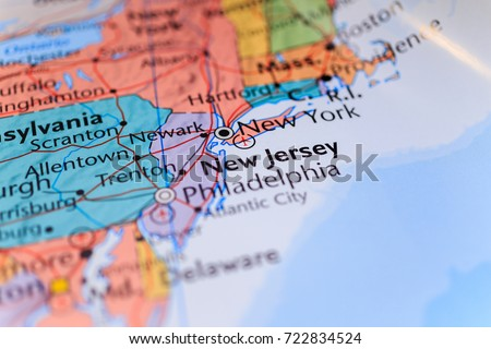 New York New Jersey On Map Stock Photo Edit Now 722834524