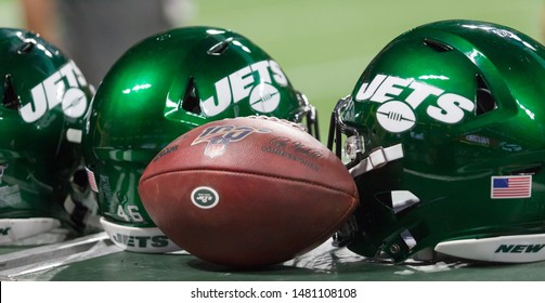 New York Jets Helmet - week #3 of the 2019 NFL Pre-Season Game Atlanta Falcons Host the New York Jets on Thursday August 15th 2019 at the Mercedes Benz Stadium in Atlanta Georgia USA