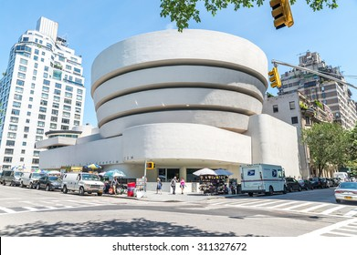 NEW YORK - JUL 10: The famous Solomon R. Guggenheim Museum of modern and contemporary art, on July 10, 2015 in New York City, USA