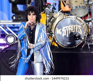 "NEW YORK - JUL 12: Luke Spiller of The Struts performs on ""Good Morning America"" in Rumsey Playfield on July 12, 2019 in New York City."