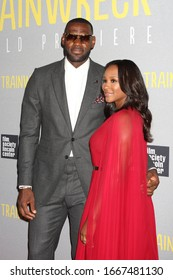 """NEW YORK - JUL 14: LeBron James (L) and wife Savannah Brinson attend the world premiere of """"Trainwreck"""" at Alice Tully Hall, Lincoln Center on July 14, 2015 in New York City."""