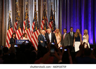 NEW YORK - JUL 16, 2016:  Donald Trump, Mike Pence and their family members appear on stage during  press conference on July 16, 2016 in New York.