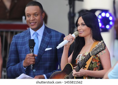 NEW YORK - JUL 19: Craig Melvin (L) and Kacey Musgraves on NBC's 'TODAY' show on July 19, 2019 at Rockefeller Plaza in New York City.