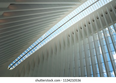 NEW YORK, NEW YORK - JUL 6: The Oculus transportation hub at World Trade Center in New York City on July 6, 2018. The structure was designed by Santiago Calatrava.