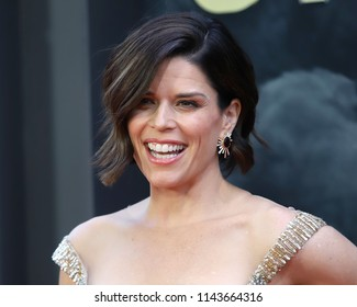 "NEW YORK - July 10, 2018:  Neve Campbell attends the premiere of ""Skyscraper"" at AMC Loews Lincoln Square on July 10, 2018, in New York City."