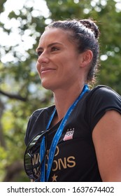 NEW YORK - JULY 10, 2019: Ali Krieger appears during the United States Women's Soccer team ticker tape parade along the Canyon of Heroes on July 10, 2019, in New York.