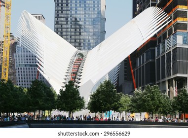 NEW YORK - JULY 11, 2015: Construction of the World Trade Center Transportation Hub designed by Santiago Calatrava continues in Manhattan