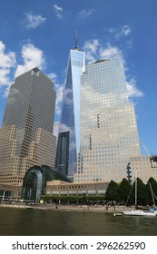 NEW YORK -JULY 11, 2015:Freedom Tower and World Financial Center in Lower Manhattan.One World Trade Center is the tallest building in the Western Hemisphere and the third-tallest building in the world