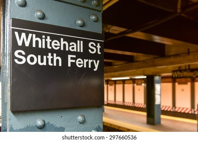 New York, New York - July 12, 2015: Whitehall Street, South Ferry Subway Station in Manhattan.