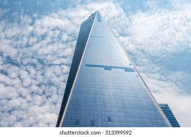 NEW YORK - JULY 13: Freedom Tower (1 WTC) in Manhattan on July 13, 2015. One World Trade Center is the tallest building in the Western Hemisphere and the third-tallest building in the world.