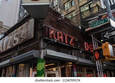 NEW YORK, NEW YORK - JULY 14, 2018: The world famous Katz's Delicatessen in New York City serving pastrami and corned beef since 1888.