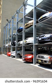 NEW YORK - JULY 15: An automated car parking system on July 15, 2011 in New York. Automatic multi-story automated car park systems are less expensive per parking slot.