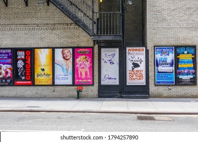 NEW YORK - JULY 16, 2020: Broadway musicals billboards in Midtown Manhattan. All New York City Broadway shows have been cancelled through January 03, 2021