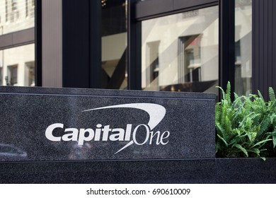 NEW YORK - JULY 16: A Capital One building in New York, NY on July 16, 2017. Capital One is an American bank holding company.