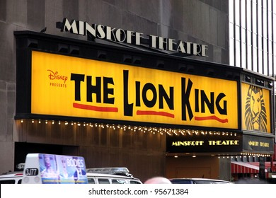 NEW YORK - JULY 16: The Lion King sign on July 17, 2011 in New York. With more than 5,350 performances, The Lion King is now Broadway's seventh longest-running show in history.