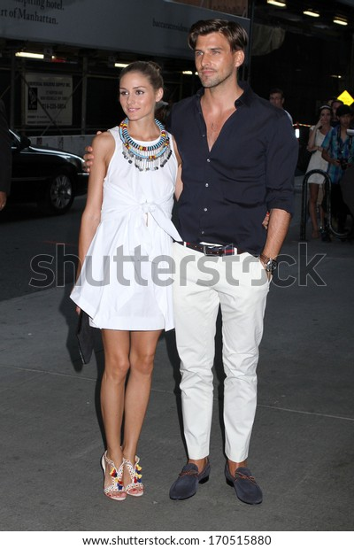 "NEW YORK - JULY 16: Olivia Palermo and Johannes Huebl attend a screening of ""Red 2"" at the Museum of Modern Art on July 16, 2013 in New York City."