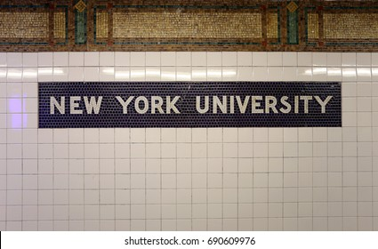 NEW YORK - JULY 16: A sign at the subway stop for NYU in New York, NY on July 16, 2017. New York University is a private nonprofit research University located in New York City.