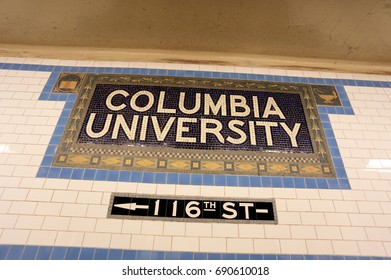 NEW YORK - JULY 16: A sign at the subway stop for Columbia University in New York, NY on July 16, 2017. Columbia University is a private Ivy League research university.