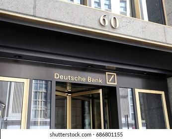 NEW YORK - JULY 16: The US headquarters of Deutsche Bank on Wall Street in New York, NY on July 16, 2017. Deutsche Bank AG is a German global banking and financial services company.