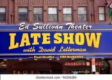NEW YORK - JULY 17: The Late Show sign on July 17, 2011 in New York. The Late Late Show is an American late-night television talk and variety show on CBS hosted by Craig Ferguson since 2005.