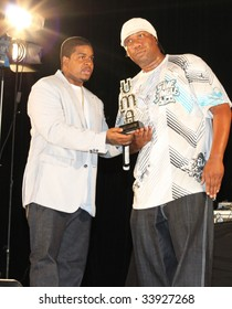 NEW YORK - JULY 17:  Producer Amadeus (L) presents rapper KRS-One [R] with a UMA Lifetime Achievement award at the 2009 Urban Music Awards at Hammerstein Ballroom on July 17, 2009 in New York City.