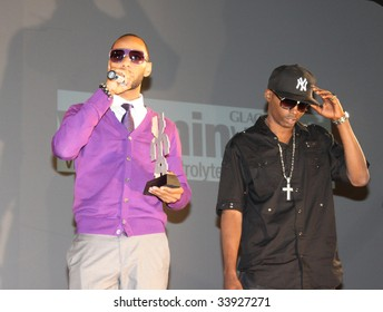 NEW YORK - JULY 17:  Producer Swizz Beatz [L] and rapper Drag-on [R] accept the award for producer of the year at the 2009 Urban Music Awards at Hammerstein Ballroom on July 17, 2009 in New York City.