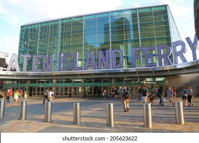 NEW YORK - JULY 17: The Staten Island Ferry Whitehall Terminal in Manhattan on July 17, 2014