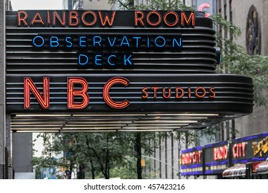 New York, July 19, 2016: The awning above an entrance to NBC studios and observation deck.
