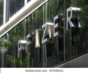 New York, July 19, 2016: Corporate lettering on the exterior of the Pfizer headquarters in Manhattan.
