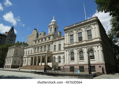 NEW YORK - JULY 19, 2016: New York City Hall. The building is the oldest city hall in the United States that still houses its original governmental functions