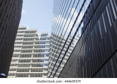 NEW YORK - July 2: Exterior glass facade of One World Trade Center, Manhattan, New York. July 2, 2015 in New York.