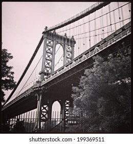NEW YORK - JULY 2013: The George Washington Bridge, a double-decked suspension bridge spanning the Hudson River on July 31, 2013 in Manhattan, New York. Instagram filter added.