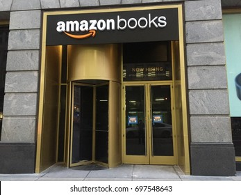 NEW YORK- JULY 2017: Amazon Books is a chain of retail bookstores now hiring. Shot is 34th street brick-and-mortar store. E-commerce biz sells Kindles, Fire TV tablet Alexa Echo AMZN Jeff Bezos