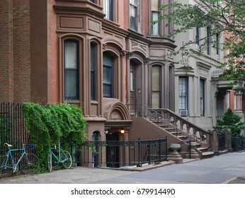 NEW YORK - JULY 2017:   The Brooklyn Heights area has been protected, and has numerous brownstone apartment houses dating back to the early 1800s.