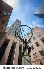 NEW YORK, NEW YORK - JULY 23: Atlas sculpture at The Rockefeller tower in New York City on July 23, 2011.