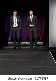 NEW YORK - JULY 25: Footballers Michael Carrick & Rio Ferdinand walk runway at Hublot 'Art of Fusion' show with Sir Alex Ferguson & Manchester United at Cipriani, Wall Street on July 25, 2011 in NYC