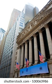 NEW YORK - JULY 26, 2016: New York Stock Exchange facade at Wall Street in Manhattan, New York City, USA.