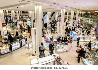 New York, July 27, 2017: The scene of the cosmetics floor of Macy's department store as customers and employees interact.
