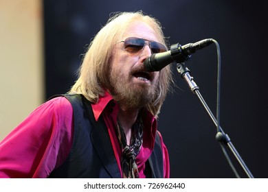 NEW YORK - JULY 27, 2017: Tom Petty performs in concert at Forest Hills Stadium on July 27, 2017, in New York.