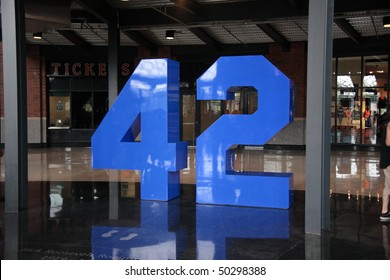 NEW YORK - JULY 29: New York Mets retired number memorial inside Jackie Robinson rotunda at Citi Field on July 29, 2009 in New York.