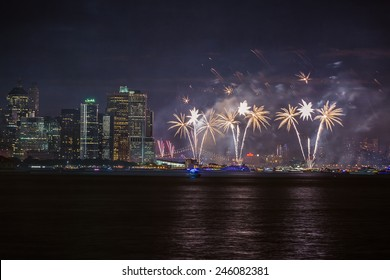 NEW YORK - JULY 4, 2014 : Macy's Fireworks as seen from Liberty State Park,Jersey City,NJ,USA.