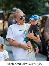 NEW YORK - JULY 5: Pink with husband Carey Hart, daughter Willow and son James are seen exiting their hotel on July 5, 2017 in New York City.