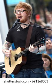 "NEW YORK - JULY 6, 2017: Ed Sheeran, performs on the NBC ""Today"" show concert series on July 6, 2017, in New York City."