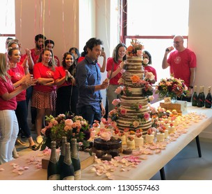 NEW YORK, July 9, 2018 -- Jon Oringer, Founder and CEO, prepares to slice the 15th year anniversary cake of Shutterstock, Inc. (NYSE: SSTK), surrounded by employees in the NYC headquarters.